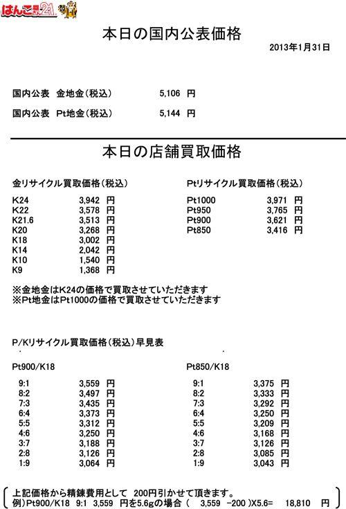31日の金・プラチナ買取り価格