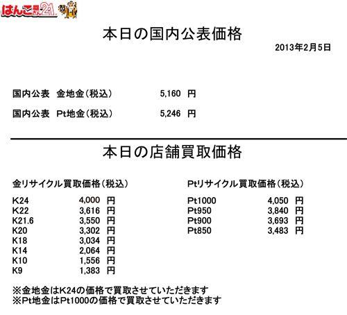 2013.02.05金・プラチナ買取り価格
