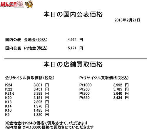 2013.02.21金・プラチナ買取り価格