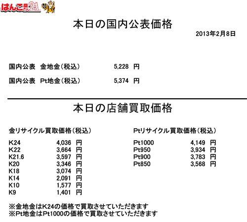 2013.02.08本日の金・プラチナ買取り価格