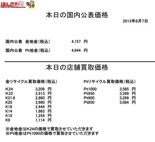 2013.08.07金・プラチナ買取り価格