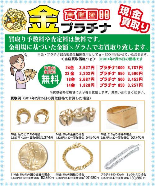 金・プラチナ買取り価格2014.02