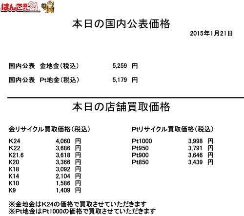 金・プラチナ買取り価格20150121