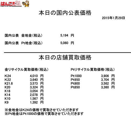 金・プラチナ買取り価格20150129