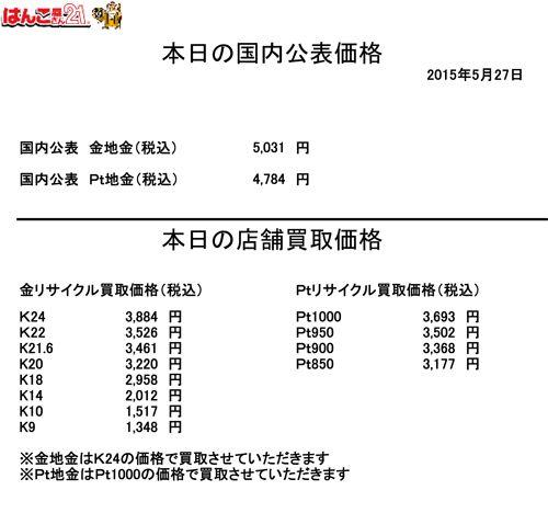 金・プラチナ買取り価格2015.05.27