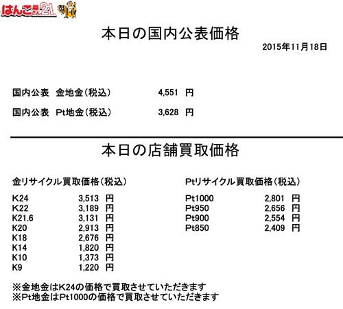 金・プラチナ買取り価格2015/11/18